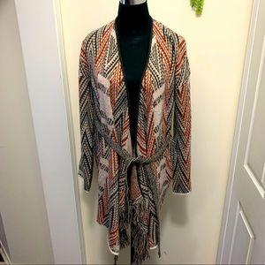 Knox Rose Knit Aztec Pattern Fringe Cardigan